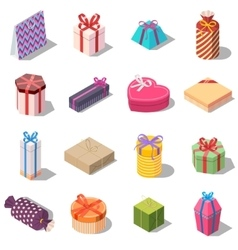 Large set of different present and gift boxes vector image