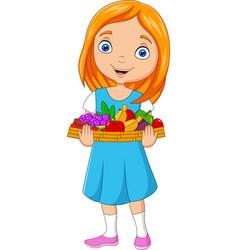 Little girl holding a basket fruits vector
