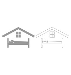 man in bed hotel grey set icon vector image