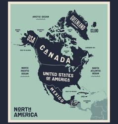 Map north america poster north america vector