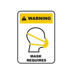 Medical mask wearing is a must information plate vector