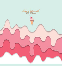 melted flowing ice cream background 3d paper cut vector image