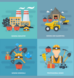 minig industry icon square set vector image