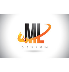 Ml m l letter logo with fire flames design and vector