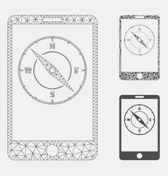 Mobile compass mesh wire frame model and vector