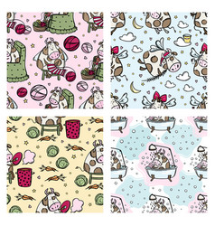 new year cow pattern set cartoon seamless vector image