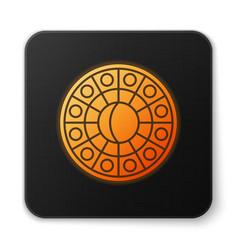 Orange glowing neon astrology horoscope circle vector