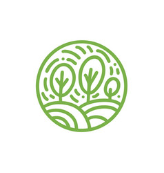 organic plant green leaves logo round bio emblem vector image