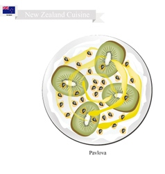 Pavlova meringue cake with kiwifruits new zealand vector