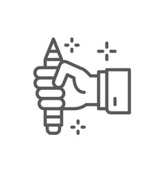 pencil in hand copywriting writer line icon vector image