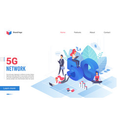 People with devices at giant letters 5g network vector