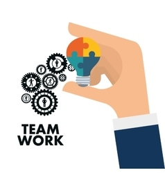 pictogram gears teamwork support design vector image