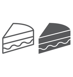 piece of cake line and glyph icon sweet and food vector image