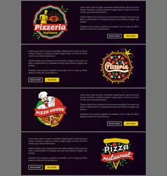 Pizzeria italiano web set vector