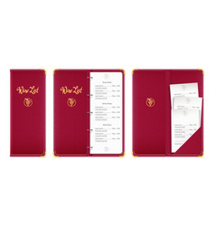 Red covered wine list bar vector