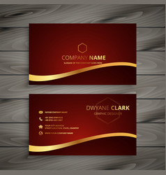 Red luxury golden business card design vector