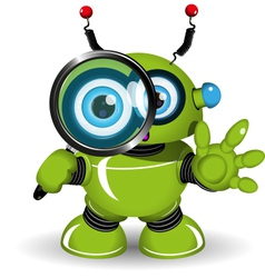 Robot with a Magnifying Glass vector image