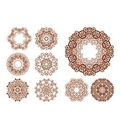 Round mehendi henna patterns drawn doodle set vector image
