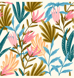 seamless floral pink and blue vector image