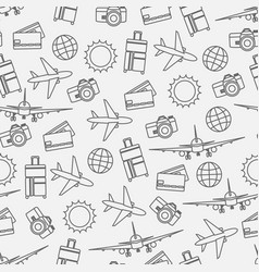 Seamless pattern of travelling on airplane vector