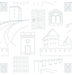 seamless pattern with elements medieval castles vector image