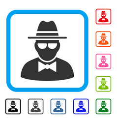 Secret agent framed icon vector