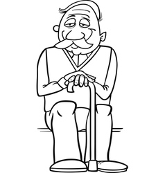senior with cane coloring page vector image