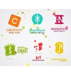 Set abstract creative logo design art vector