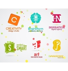 Set of abstract creative logo design Art vector