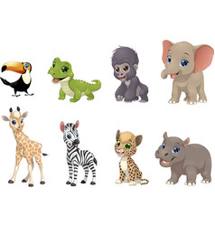Set of funny kids animals vector