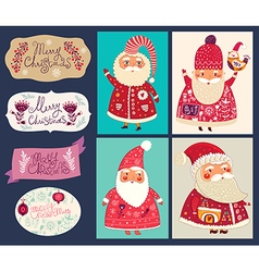 set of funny santa clauses vector image