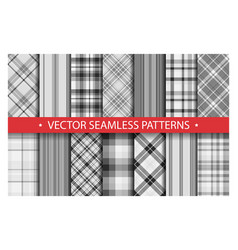 Set plaid pattern seamless tartan patterns fabric vector