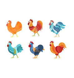 set roosters with creative coloring vector image
