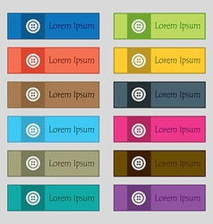 Sewing button sign Set of twelve rectangular vector