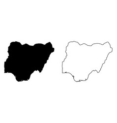 simple only sharp corners map nigeria drawing vector image