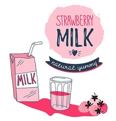 Strawberry milk graphic design with stylish milk vector