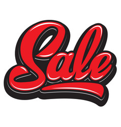 stylish calligraphic red lettering sale on the vector image