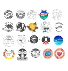 Summer and tourism theme logos set vector