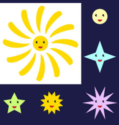 Sun and star characters vector