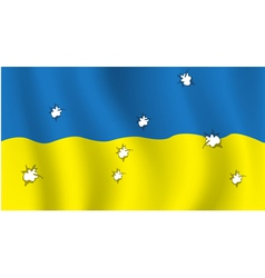 The Ukrainian flag with bullet holes vector