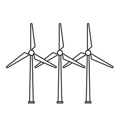 Tower wind turbine icon outline style vector