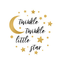 Twinkle twinkle little star text with gold star vector