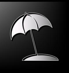 umbrella and sun lounger sign gray 3d vector image