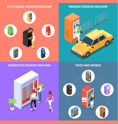 vending machines isometric design concept vector image