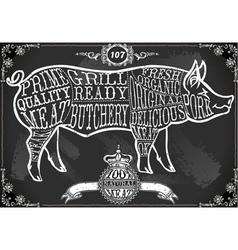 Vintage blackboard cut of pork vector