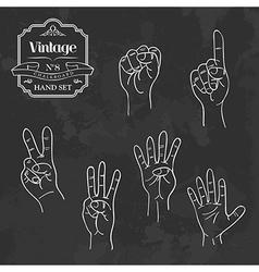 Vintage chalkboard numbers hand set vector image