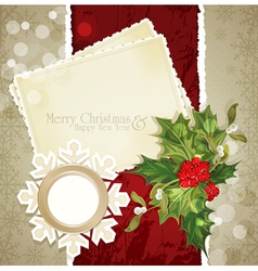 Vintage retro christmas background with sprig e vector