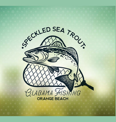 Vintage sea trout fishing emblems labels and vector