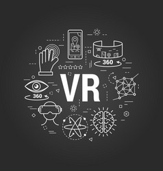 Virtual reality on black vector
