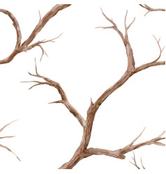 Watercolor tree branches pattern vector